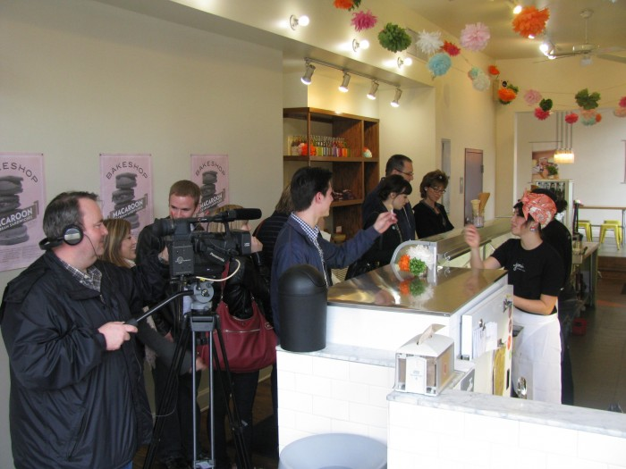filming at Jeni's ice creams columbus , short north food tour