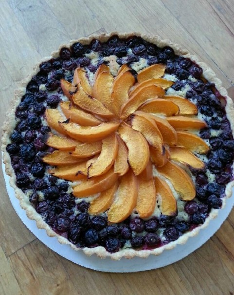blueberry apricot almond tart at Eleni christina