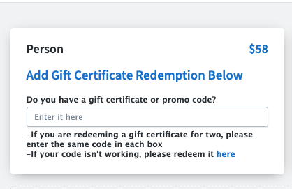 gift certificate redemption.